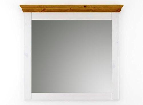 Spiegel mit Rahmen Wandspiegel 100x100 Kiefer massiv weiß honig – Bild 1