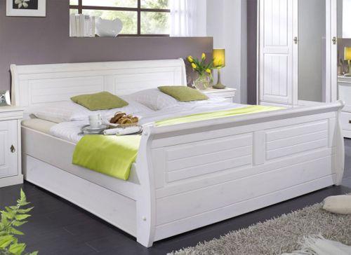 Holzbett 100x200 Bett Einzelbett Kiefer massiv Vollholz weiß gewachst