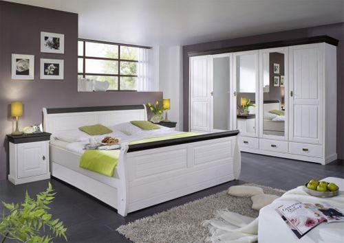 Massiv Holzbett 100x200 Bett Einzelbett Kiefer massiv Holz weiß nussbaum – Bild 3