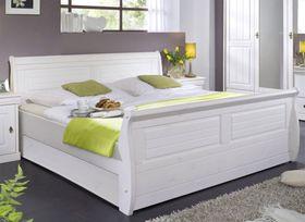 Bett 140x200, Kiefer massiv weiß gewachst