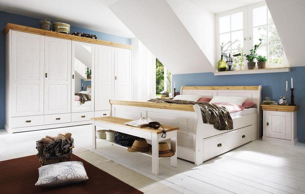 Massiv Holzbett 140x200 Bett Doppelbett Kiefer massiv Holz weiß nussbaum – Bild 4
