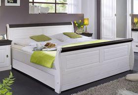 Massiv Holzbett 140x200 Bett Doppelbett Kiefer massiv Holz weiß nussbaum 001