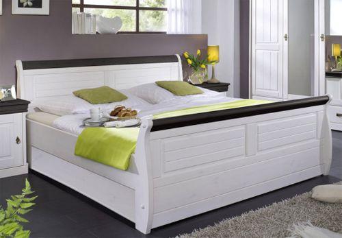 Massiv Holzbett 180x200 Bett Doppelbett Kiefer massiv Holz weiß nussbaum – Bild 1