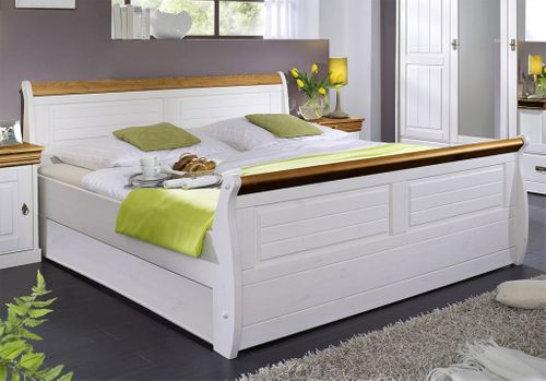 Massiv Holzbett 180x200 Bett Doppelbett Kiefer massiv Holz weiß honig – Bild 1