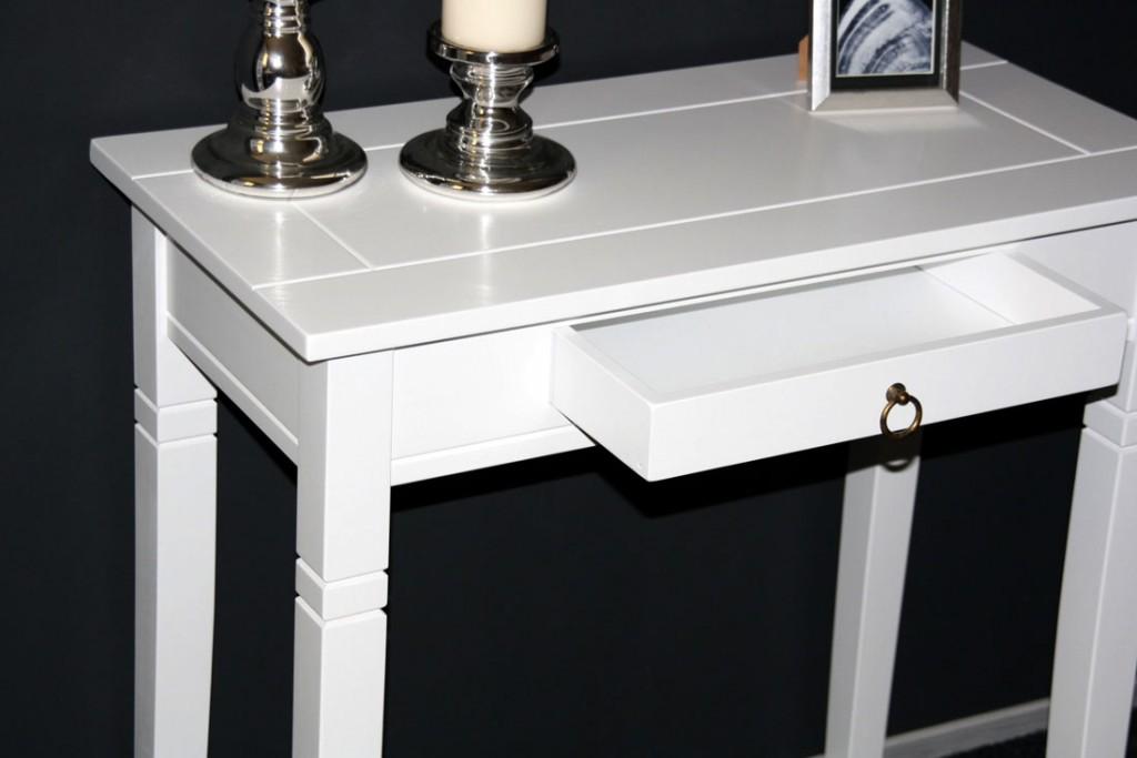 konsolentisch 80x80x40cm 1 schublade pappel massiv wei. Black Bedroom Furniture Sets. Home Design Ideas