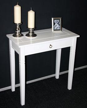 Konsolentisch 80x80x40cm, 1 Schublade, Pappel massiv weiß lackiert