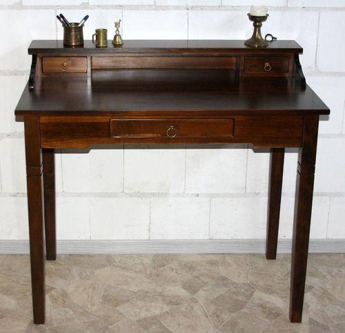 Schreibtisch Sekretär Vollholz massiv braun nussbaum Farbe – Bild 5