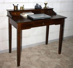 Sekretär 100x91x57cm, 1+2 Schubladen, Pappel massiv nussbaumfarben lackiert