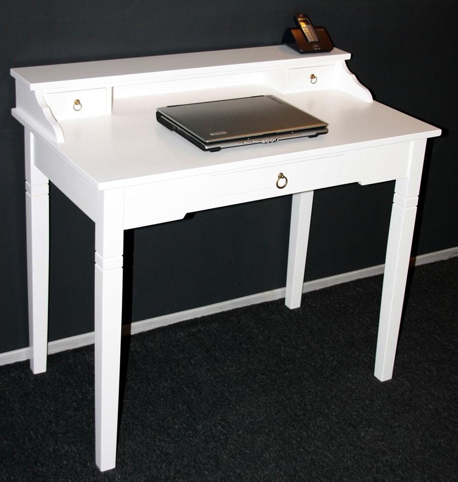 Sekretär Konsolentisch Schreibtisch Holz massiv weiß – Bild 5
