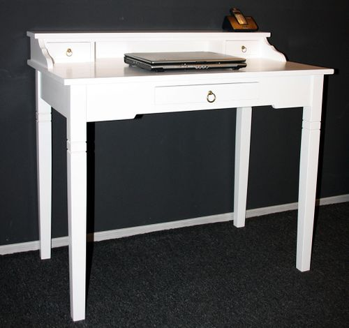 Sekretär Konsolentisch Schreibtisch Holz massiv weiß – Bild 6