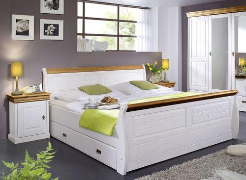 Bett mit Bettkasten und Nachtisch Kiefer massiv weiß honig – Bild 1