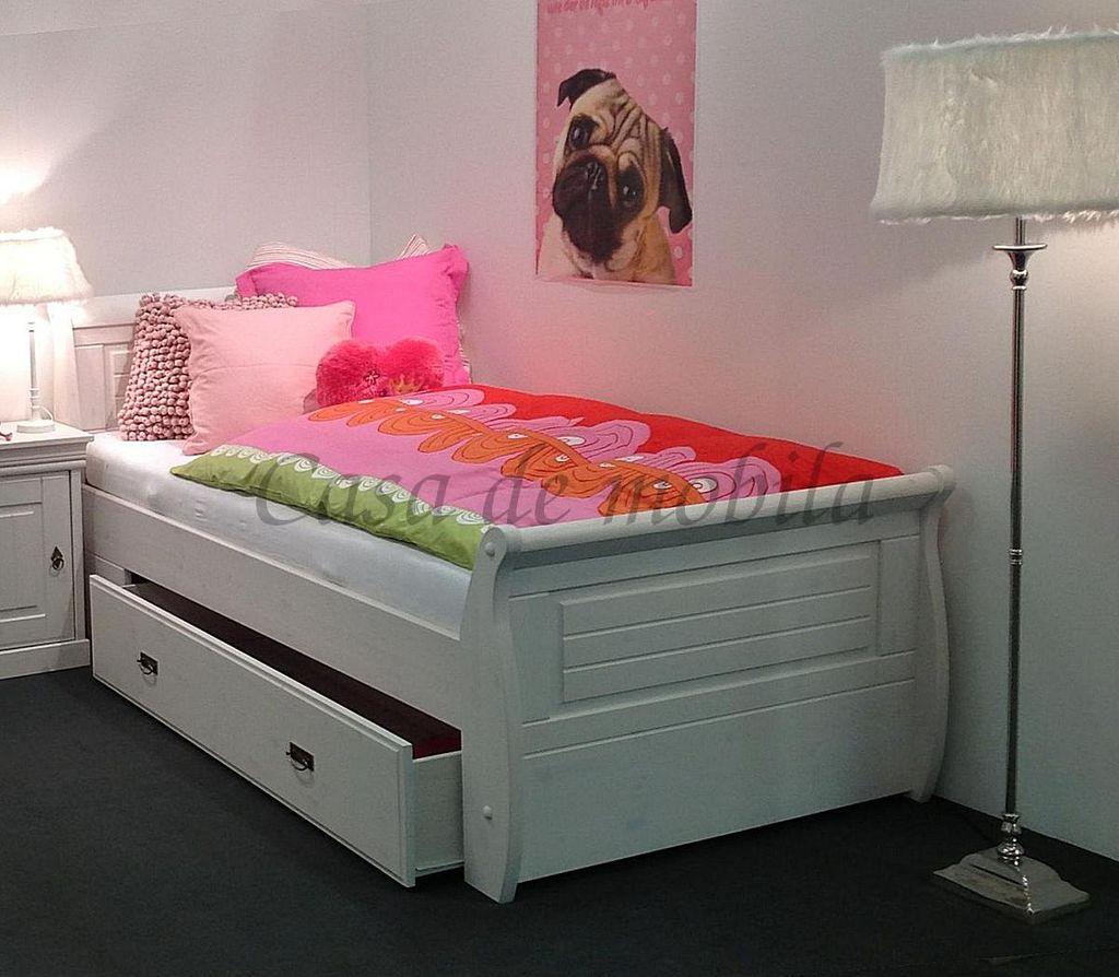 Bett mit Bettkasten und Nachtisch Kiefer massiv weiß gewachst 100x200cm