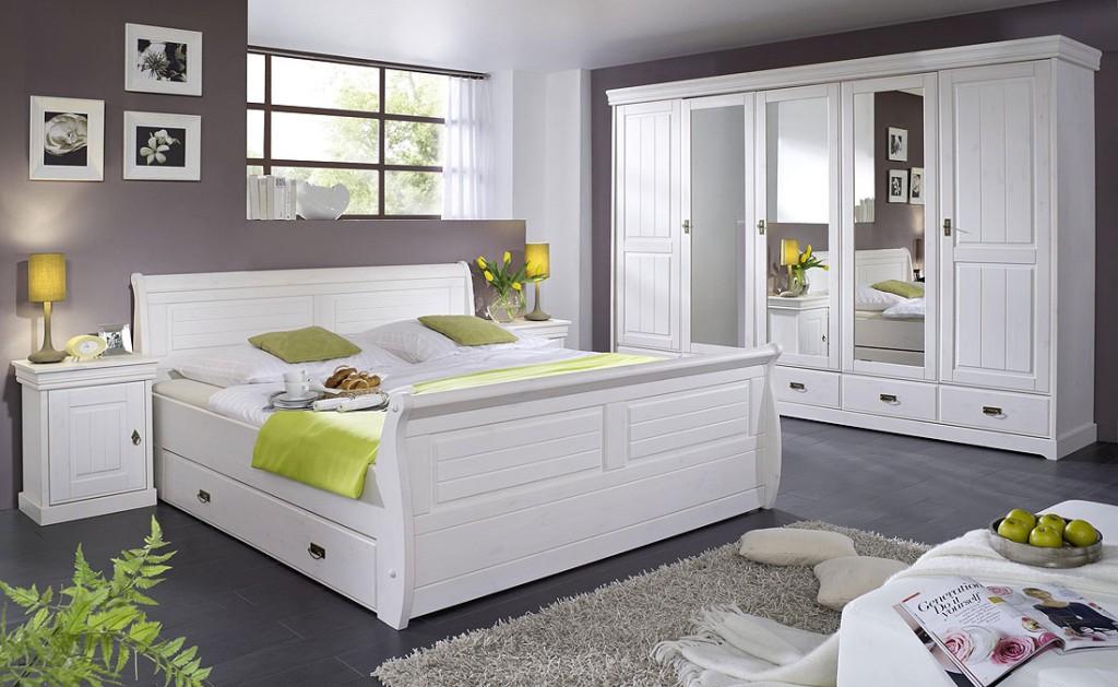 Schubladenbett 140x200 mit 2 Nachtkommoden, Kiefer massiv weiß gewachst