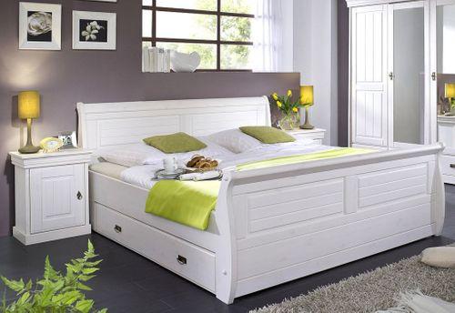 Bett mit Bettkasten und Nachtischen Kiefer massiv weiß lackiert – Bild 1
