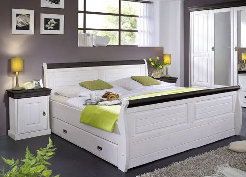 Bett mit Bettkasten und Nachtischen Kiefer massiv weiß nussbaum – Bild 1