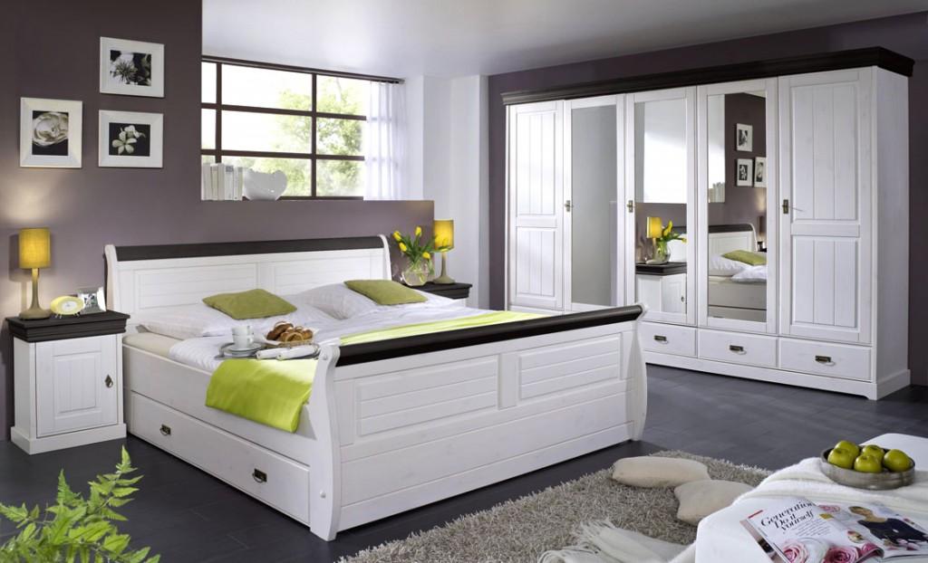 Schlafzimmer-Set 4teilig, Kiefer massiv 2farbig weiß gewachst ...