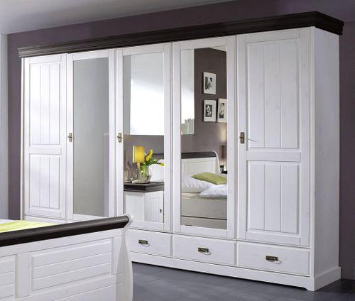 Schlafzimmer-Set komplett 180x200 Vollholz Kiefer massiv 2farbig weiß kolonial – Bild 6