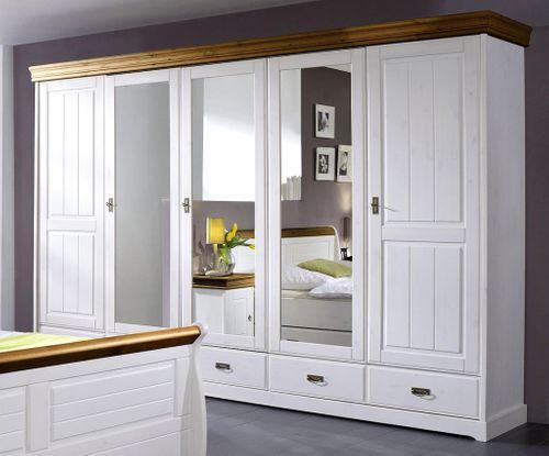 Schlafzimmer-Set komplett 180x200 Vollholz Kiefer massiv 2farbig weiß honig – Bild 6