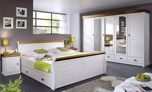 Schlafzimmer-Set komplett 180x200 Vollholz Kiefer massiv 2farbig weiß honig – Bild 1