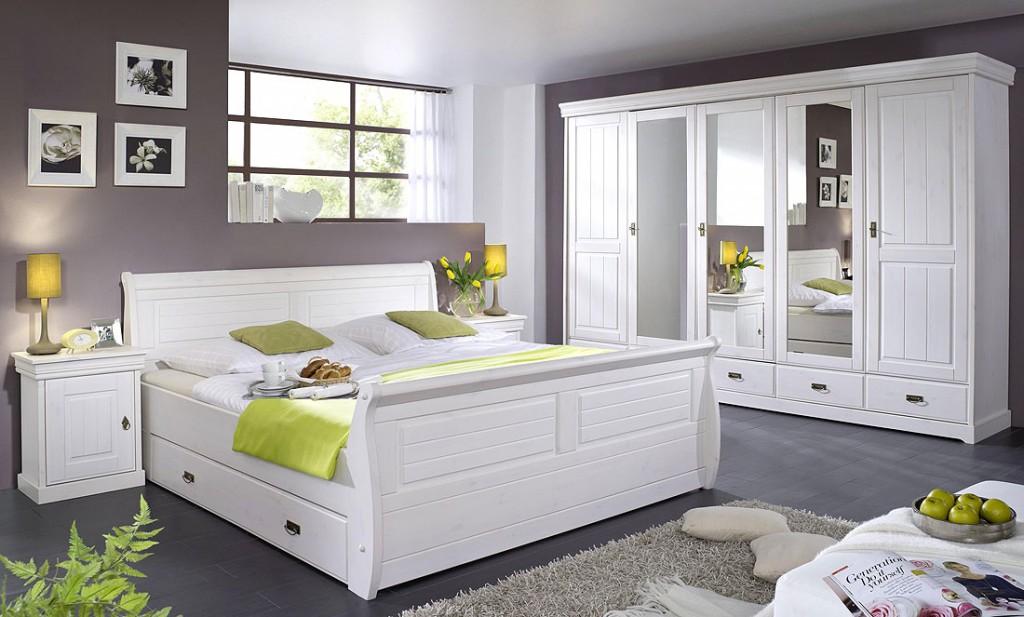 massivholz schlafzimmer set komplett 180x200 kiefer massiv wei - Schlafzimmer Weis Komplett