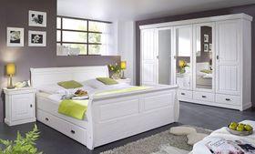 Schlafzimmer-Set komplett 180x200 Vollholz Kiefer massiv weiß 001