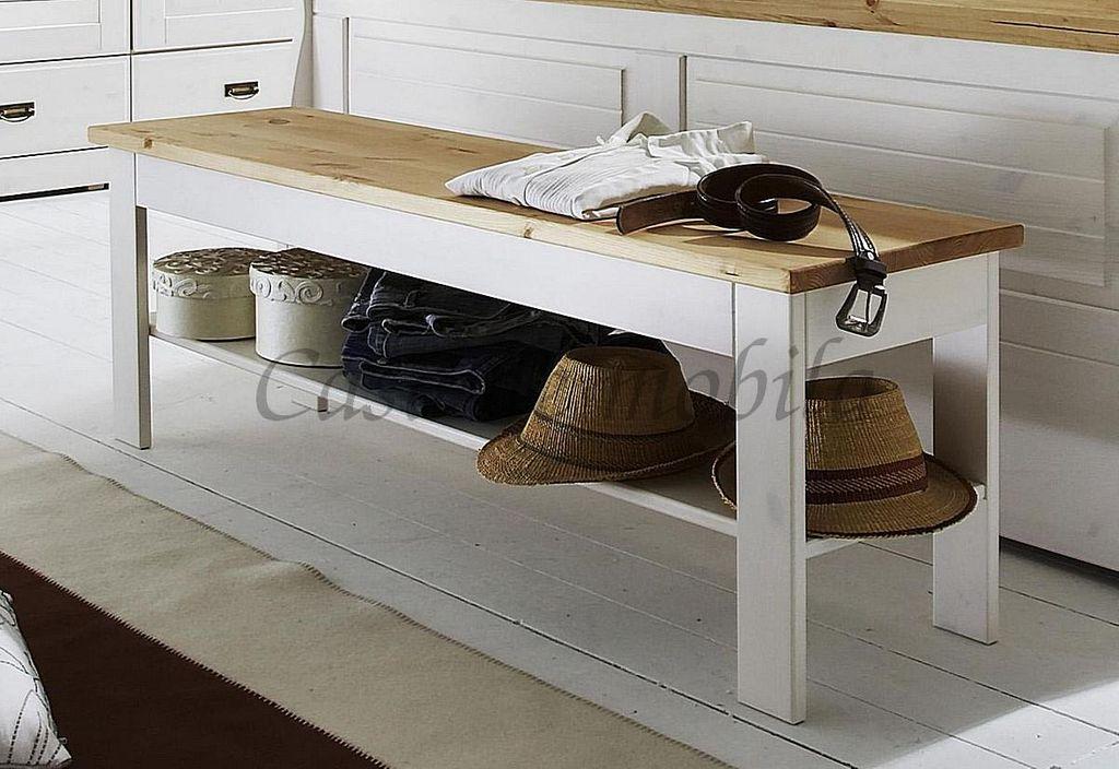 Sitzbank Bettbank 140x45x35 cm Kiefer weiß gewachst oder 2-farbig laugenfarbig