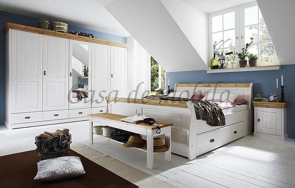 Schlafzimmer-Set 5teilig, Kiefer massiv 2farbig weiß gewachst ...