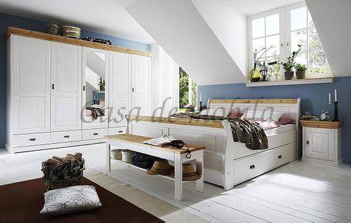 Schlafzimmer-Set komplett 180x200 Kiefer massiv weiß gelaugt – Bild 1