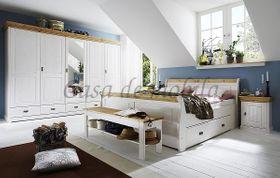 Schlafzimmer-Set komplett 180x200 Kiefer massiv weiß gelaugt 001