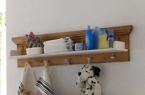 Wandboard weiß antik Wandregal Hängeregal Kiefer massiv Holz 2farbig – Bild 3