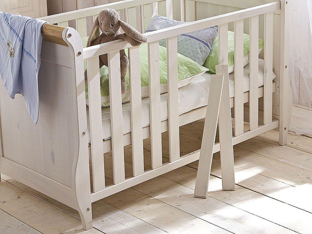 Babybett weiß antik Gitterbett Kinderbett Kiefer massiv Holz 2farbig – Bild 4