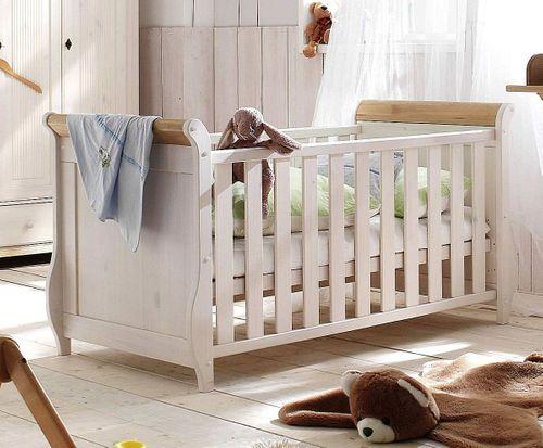Babybett weiß antik Gitterbett Kinderbett Kiefer massiv Holz 2farbig – Bild 1