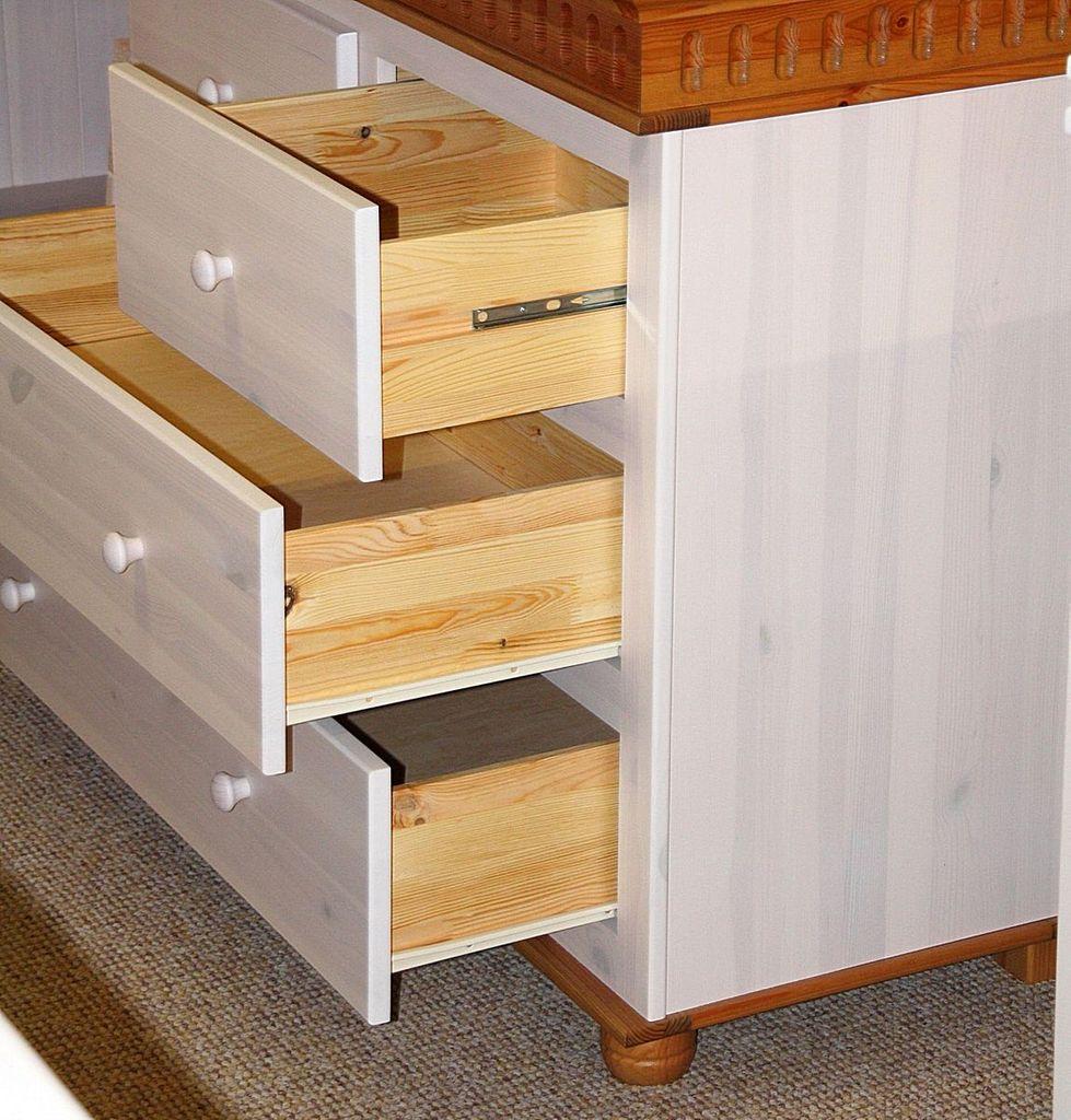 kommode 105x93x48cm 4 schubladen kiefer massiv 2farbig wei antik. Black Bedroom Furniture Sets. Home Design Ideas