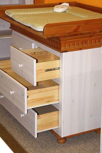 Babyzimmer-Set 6teilig Babymöbel Kiefer massiv Holz weiß antik – Bild 5