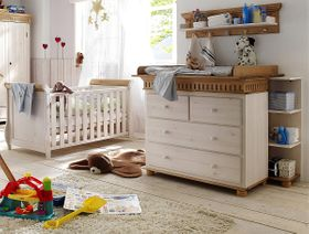 Massivholz Babyzimmer-Set 6teilig Babymöbel Kiefer massiv Holz weiß antik