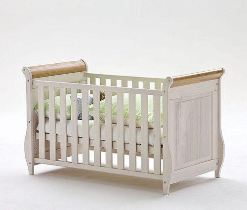 Babyzimmer-Set 7teilig komplett Kiefer massiv Holz weiß antik – Bild 3