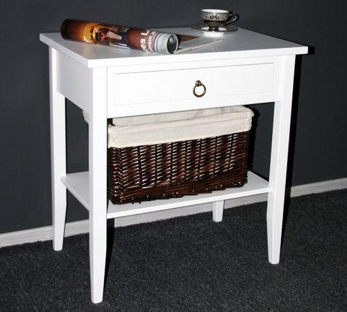 Beistelltisch Nachttisch Konsolentisch Holz massiv weiß – Bild 2