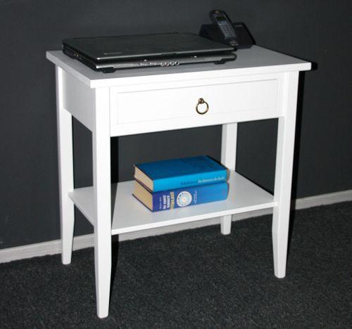 Beistelltisch Nachttisch Konsolentisch Holz massiv weiß – Bild 6