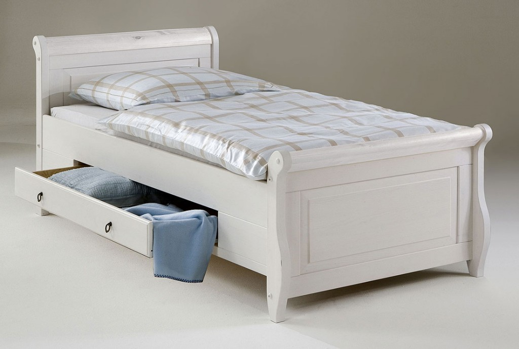 bett 100x200 2 schubladen kiefer massiv wei. Black Bedroom Furniture Sets. Home Design Ideas