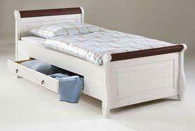 Bett 100x200, 2 Schubladen, Kiefer massiv 2farbig weiß / kolonial