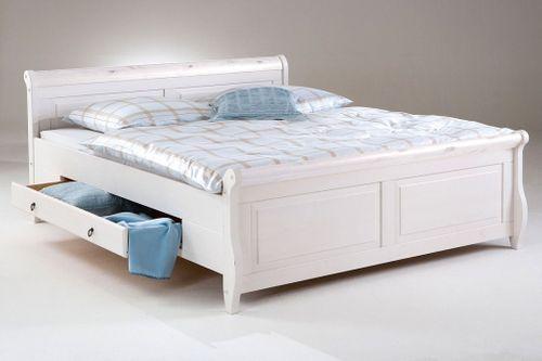 Bett mit Schubladen 140x200 weiß Holzbett Kiefer massiv Poarta – Bild 1