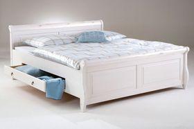 Bett 140x200, 2 Schubladen, Kiefer massiv weiß