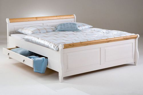 Bett mit Schubladen 140x200 weiß antik Holzbett Kiefer massiv Poarta – Bild 1
