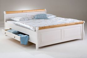 Bett 140x200, 2 Schubladen, Kiefer massiv 2farbig weiß / antik