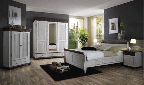 Bett mit Schubladen 140x200 weiß kolonial Holzbett Kiefer massiv Poarta – Bild 3
