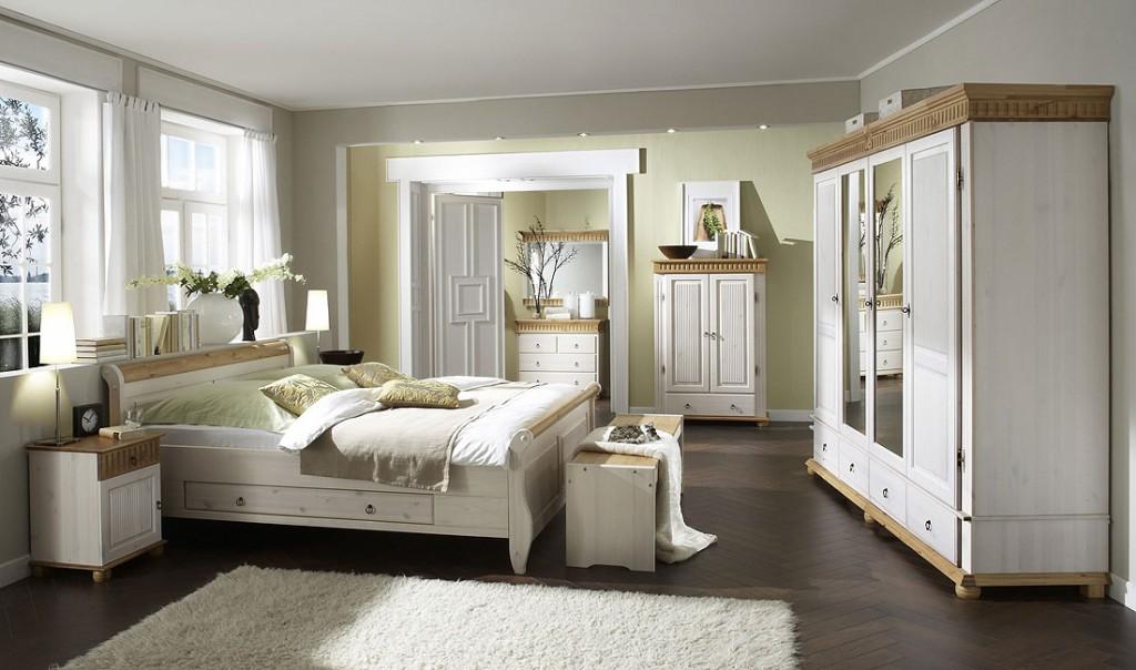 Bett mit Schubladen 160x200 weiß antik Holzbett Kiefer massiv Poarta