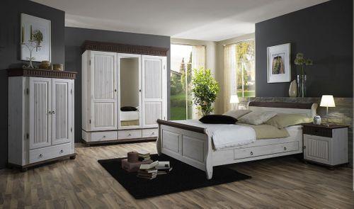 bett 100x200, 2 schubladen, kiefer massiv 2farbig weiß / antik, Hause deko