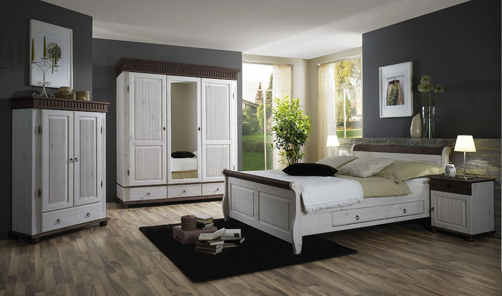 Holzbett weiß 200x200  Bett 200x200, 2 Schubladen, Kiefer massiv 2farbig weiß / kolonial