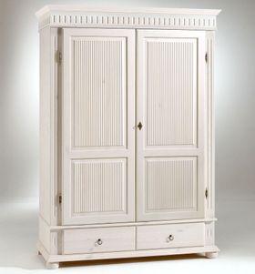Kleiderschrank 138x199x62cm 2türig Schubladen Kiefer weiß