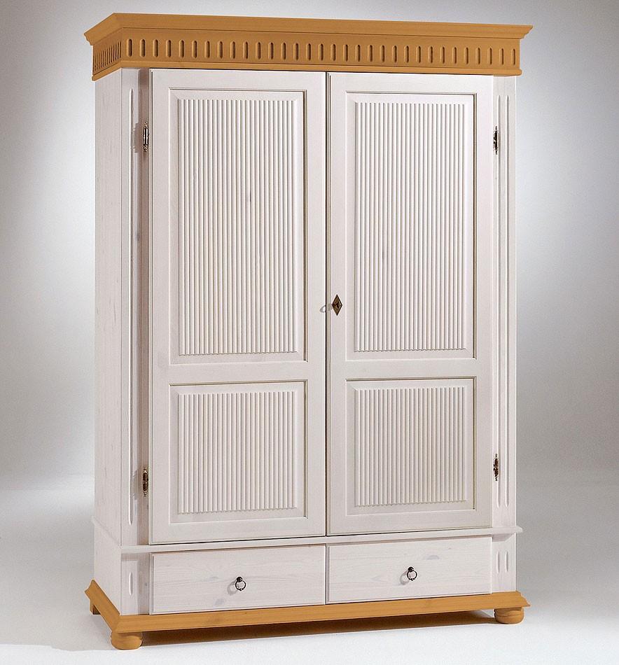 Kleiderschrank 138x199x62cm, 2 Türen, Geteilte Türfüllung